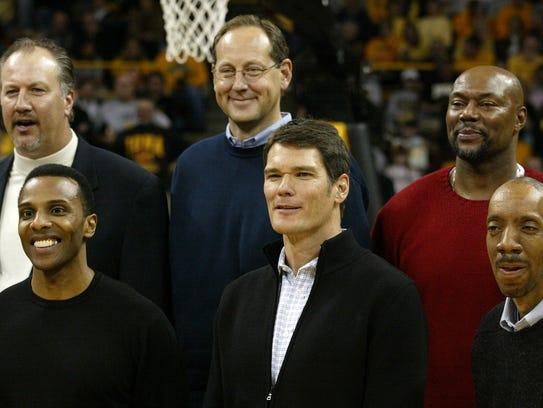 Members of Iowa's 1980 Final Four team were honored