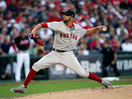 Boston Red Sox pitcher David Price throws against the Cleveland Indians in the first inning during Game 2 of the American League Division Series, Friday, Oct. 7, 2016, in Cleveland.