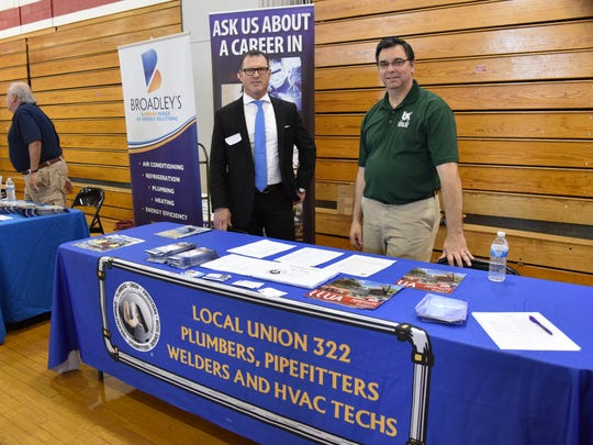 Representatives of Local Union 322 Plumbers, Pipefitters, Welders and HVAC Techs are ready to share information with students during Vineland High School's annual Career Day on April 28.