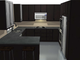Modern Family Kitchens provided a detailed kitchen design with an open bookshelf and a built-in wine rack. The design (based on Ikea cabinets) helped maximize storage in the 120 square-foot space.