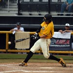 Southern Miss player Connor Barron, 7, swings at home base as the Golden Eagles take on Old Dominion Thursday afternoon lasting 12 innings in the Conference USA Baseball Championship at Pete Taylor Park.