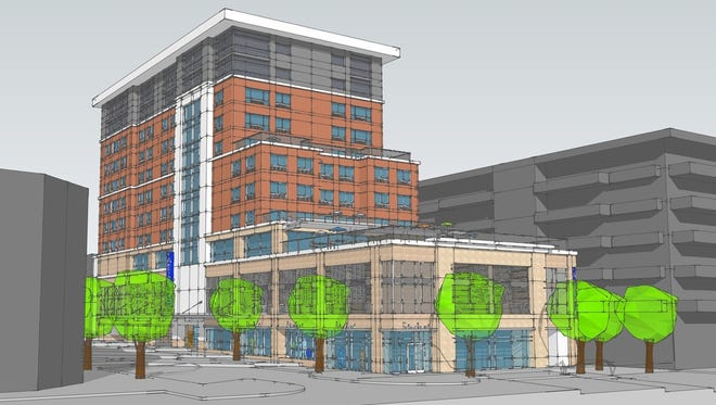 A rendering of the hotel proposed for the corner of Battery Park and Page avenues.