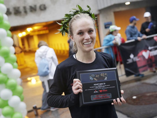 Katie Lenahan was the first women finisher at the 15k