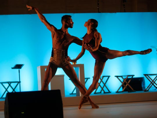 Ballet dancers Misty Copeland and Clifford Williams perform during Shinnyo Lantern Floating for Peace Ceremony at Lincoln Center for the Performing Arts on Sept. 20, 2015 in New York City.