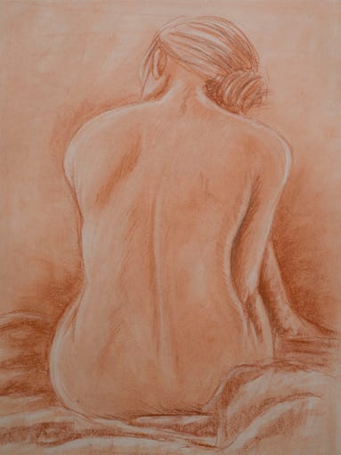 """Courtney Boone's conte drawing """"Back View,"""" left, and Virginia Branchcomb's """"Dancers"""" are part of the PSC student show."""