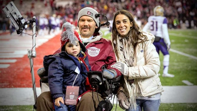 Rivers, left, dad Steve Gleason and wife Michel appear on a football field.