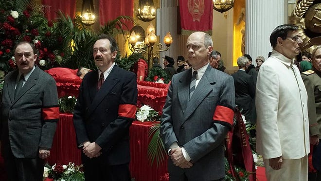 """Actors Paul Whitehouse, left, Steve Buscemi and Jeffrey Tambor star in the period comedy """"The Death of Stalin."""""""