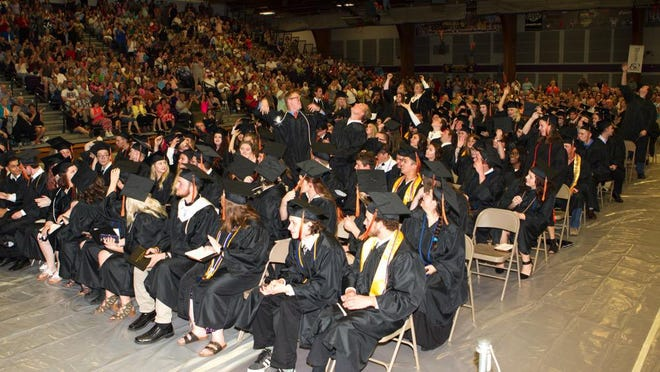 Kirksville High School seniors celebrate their graduation Sunday at Truman State University's Pershing Arena. The KHSclass of 2018 consisted of 184 students.