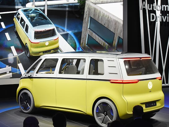 The Volkswagen I.D. Buzz concept in  show in Detroit,