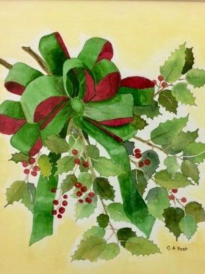 Holly, watercolor by Carol Yost.