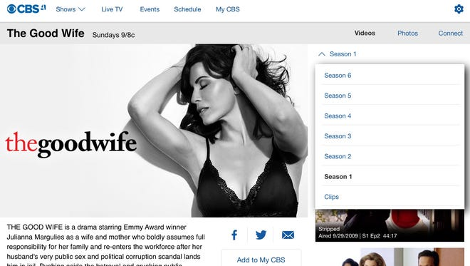"""A screen grab of """"The Good Wife"""" complete season offerings on CBS All Access app on a tablet."""