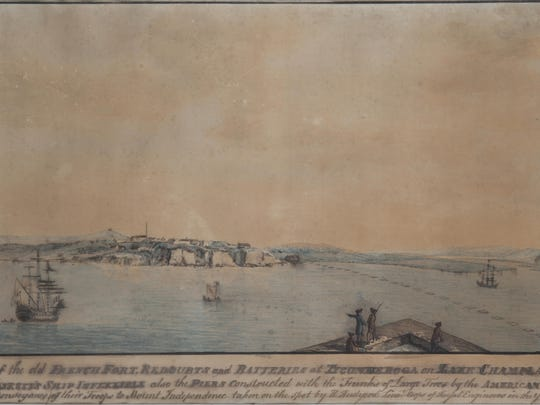 """View of the Old French fort, Redoubts and Batteries at Ticonderoga on Lake Champlain"" by Henry Rudyard, 1777."