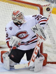 Charlie Lindgren has been St. Cloud State's No. 1 goalie for the past two seasons. He picked up an overtime win in the NCAA playoffs last season and is one of the top goalies in the country this season.