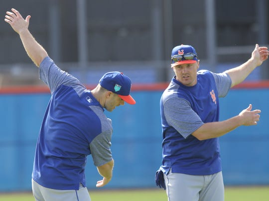 The Mets workout this morning.  David Wright and jay Bruce working out together this morning.
