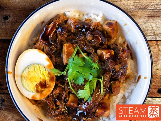 STEAM's 5 Spice Pulled Pork dish includes steamed rice,
