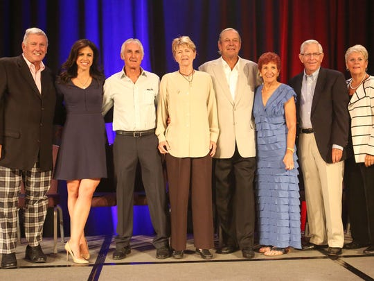 The 2017 Sports Heroes Luncheon of the Boys and Girls Clubs of the Coachella Valley honorees.  From left Tommy John, Nicole Castrale, Jose Higueras, Tory Fretz, Don Ohlmeyer, Donna Caponi-Byrnes, Frank Beard and Chris Voelz in Indian Wells, April 6, 2017.