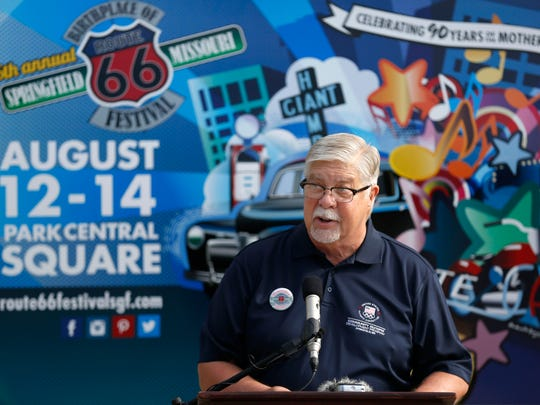 Springfield Mayor bob Stephens speaks before a ceremonial groundbreaking on the upcoming Route 66 streetscape and Broadway plaza construction project on Wednesday, Aug. 10, 2016.