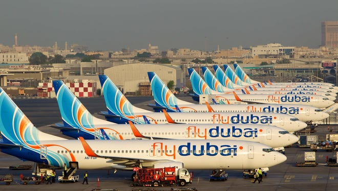 Flydubai planes seen in a photo provided by the airline.