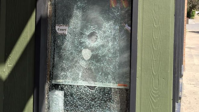 A Blazing Saddle window was smashed early Thursday morning by a rock. The man was caught on surveillance footage but has yet to be identified.