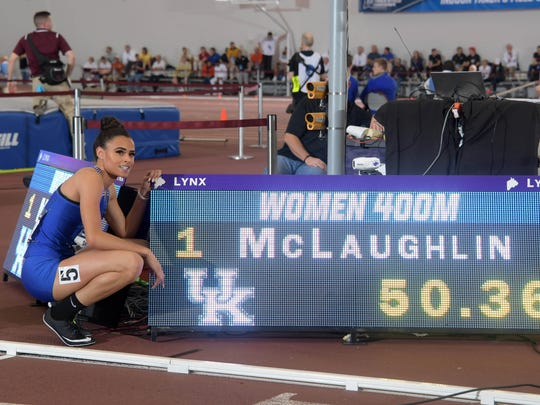 Sydney McLaughlin of Kentucky poses after winning the women's 400 meters a world under-20 record 50.36 during the NCAA Indoor Track and Field Championships.