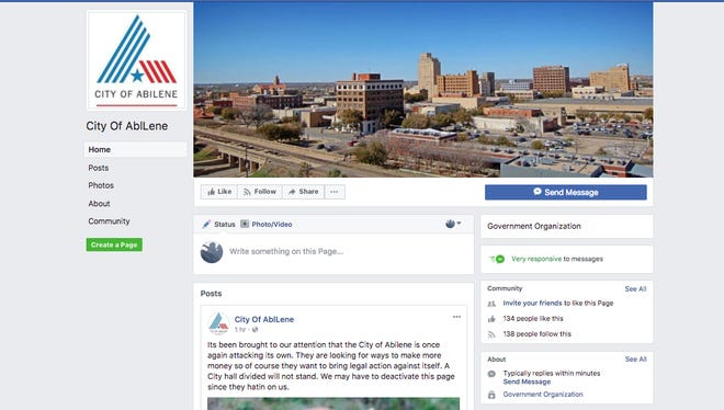 Screen shot of Facebook page city officials say is bogus on Sunday, Dec. 10, 2017.