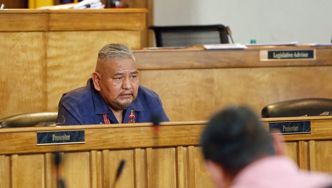Navajo Nation Council Delegate Davis Filfred, as seen during a council session in 2016.