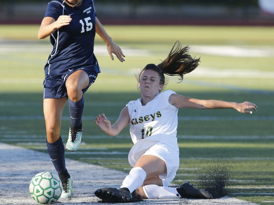 Sophia Giamanco (10)  of Red Bank Catholic defends against Lucianna Powell (15)  of Middletown South during girls high school soccer game at Count  Basie Park, Red Bank,NJ. Wednesday, October 4, 2017.  Noah K. Murray-Correspondent Asbury Park Press