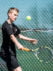 Palmyra's Ben Clary fell to Cedar Crest's Jacob Muraika 6-2, 6-2, in the singles title match at the 23rd annual Lebanon County Boys Tennis Tournament on Saturday, April 8, 2017.