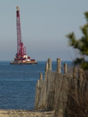 Crane off the coast of Delaware for work on the Rehoboth