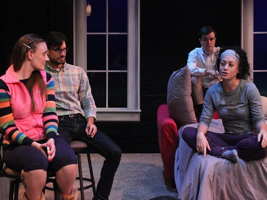 """From left, Angela Stettler, Brian Vaugh, Ian Shields and Rachel Salowitz share the spotlight in StageWest's """"Bad Jews"""" at the Des Moines Social Club."""