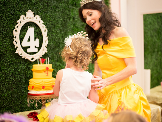 Princess Belle, played by Jennifer Gonterman, makes