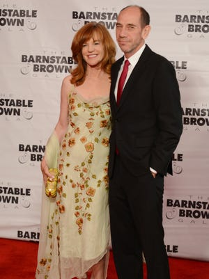 Actor Miguel Ferrer, right, from NCIS LA and his wife, left, Lori Ferrer at the Barnstable-Brown Derby Eve Gala.