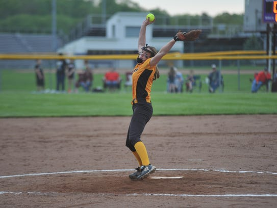 Sydney Studer pitches against Crestview in the district