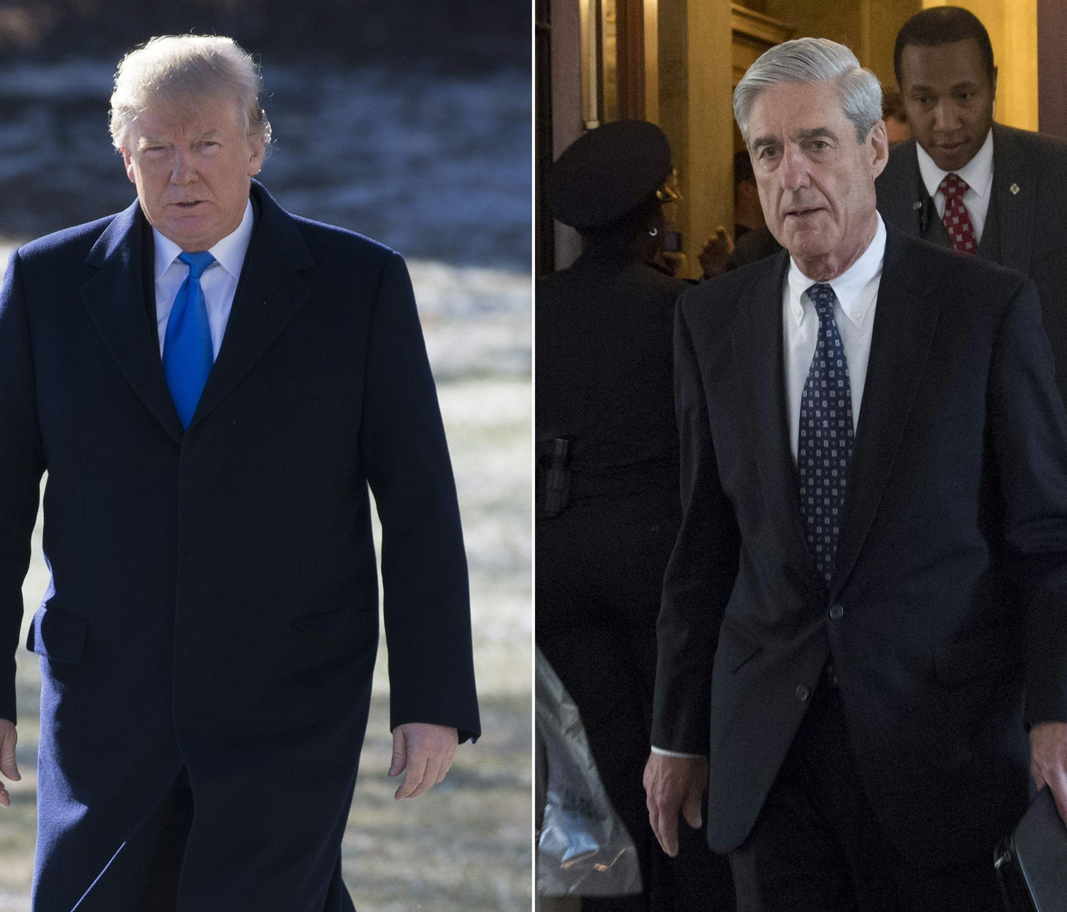 President Trump (left) and special counsel Robert Mueller (right).