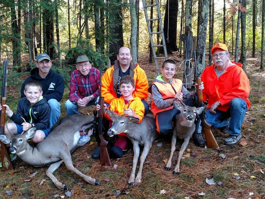 Pictured here are four generations of hunters. Front row, from left: Ryan Klitzman (10), Joey Belair (12) and Jared Klitzman (13). Back row, from left:Matt Klitzman, Arnold Belair, Brian Belair and Ralph Belair.