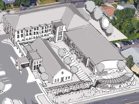 The former Our Lady of Grace Church in Somerdale would hold a restaurant,while a neighboring school would house apartments under a development plan.
