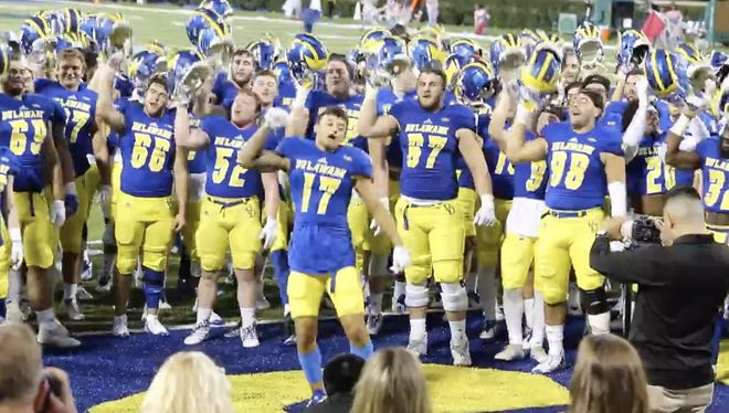 University of Delaware freshman Tylan McElhenie rocks out after the Blue Hens' win against the College of William & Mary.