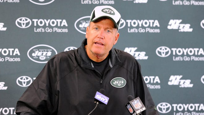 New York Jets head coach Rex Ryan speaks with the media following training camp at SUNY Cortland.