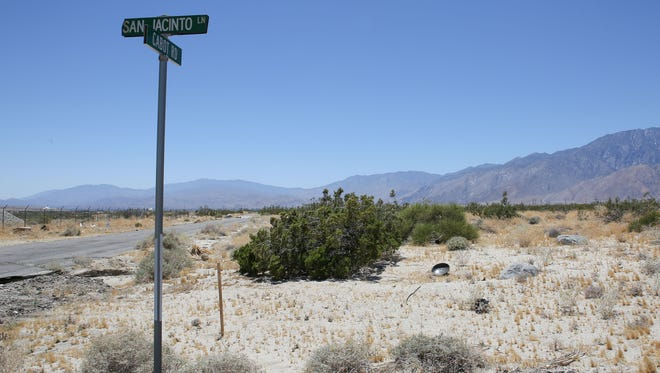 The future site of the marijuana grow business VetsLeaf in Desert Hot Springs.