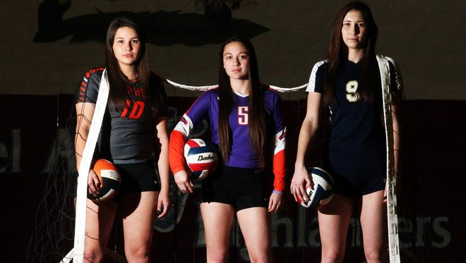All City volleyball players are, from left, Setter Priscilla Sanchez of El Paso High, defensive player Chelcie Spence of Eastlake and hitter Monica Roberts of Coronado.