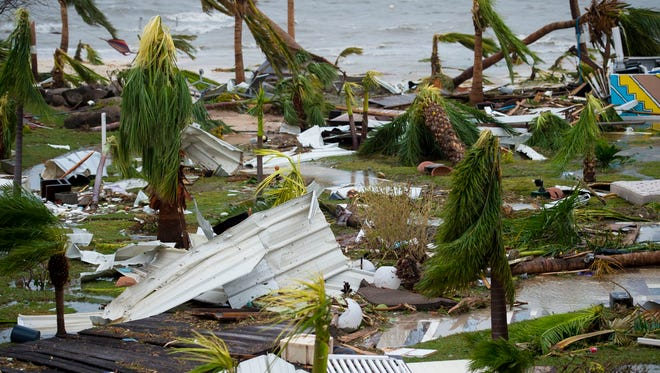 """This is the damage outside the """"Mercure"""" hotel in Marigot, on the Bay of Nettle, on the island of Saint-Martin in the northeast Caribbean, after the passage of Hurricane Irma, Sept. 6, 2017."""