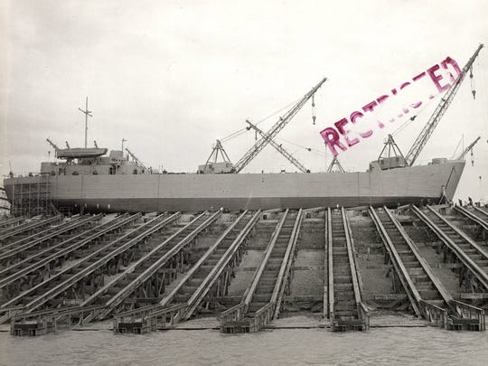 The first LST about to be launched from the Evansville Shipyard in October 1942