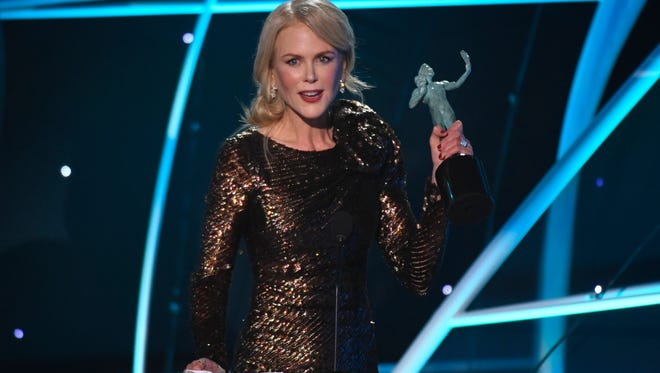 Nicole Kidman accepts the award for Outstanding Performance by a Female Actor in a Television Movie or Limited Series for her role as Celeste Wright in 'Big Little Lies'  at the 24th Annual Screen Actors Guild Awards at the Shrine Auditorium.