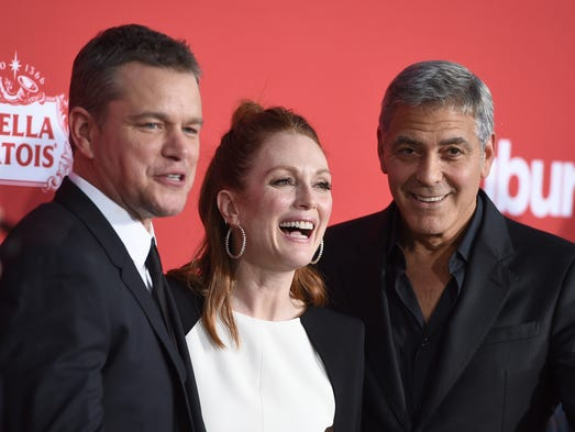 Matt Damon, from left, Julianne Moore and George Clooney