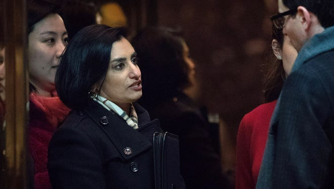 Seema Verma, president and founder of SVC Inc., gets into an elevator as she arrives at Trump Tower, November 22, 2016 in New York City. President-elect Donald Trump and his transition team are in the process of filling cabinet and other high level positions for the new administration. (Photo by Drew Angerer/Getty Images)