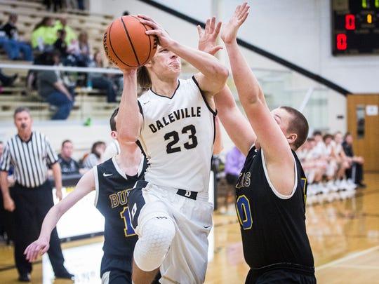 Daleville's Ryan Hale goes up for a shot against Burris at Daleville High School Friday, Dec. 9, 2016.