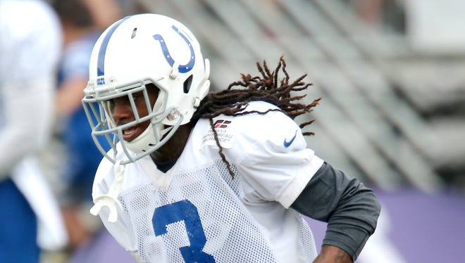 Indianapolis Colts wide receiver Nu'Keese Richardson runs after a catch during practice at training camp, on Saturday, August 9, 2014, in Anderson.