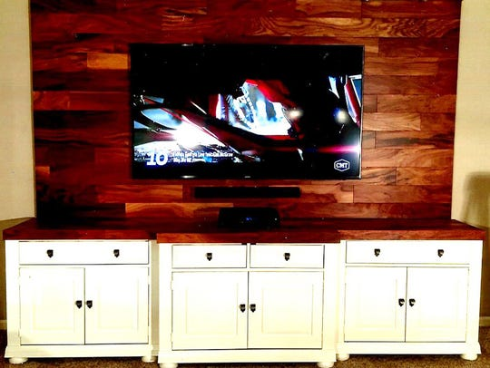Kenny Peek transformed a massive 20 year old entertainment center unit, into this contemporary piece for his Joelton home.