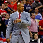 New Orleans Pelicans head coach Monty Williams yells from the sidelines against the San Antonio Spurs during the second half at the Smoothie King Center.The Pelicans won 108-103 to earn the eight seed in the Western Conference Playoffs.