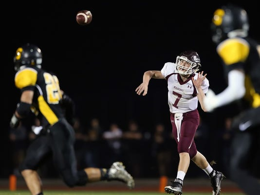Manheim Central's Kody Kegarise throws the ball during Friday's game against Solanco.